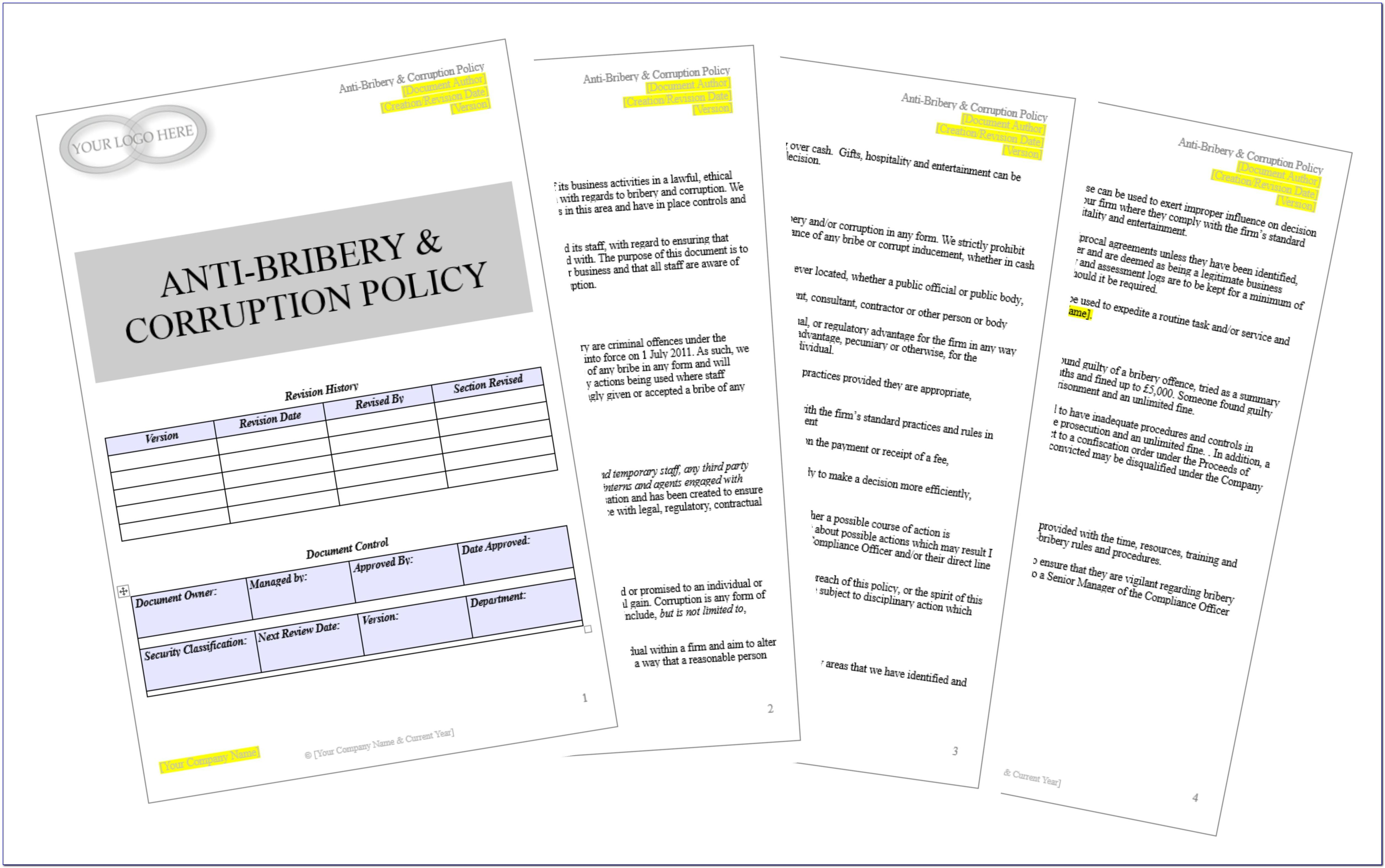 Anti Bribery And Corruption Policy Template Doc