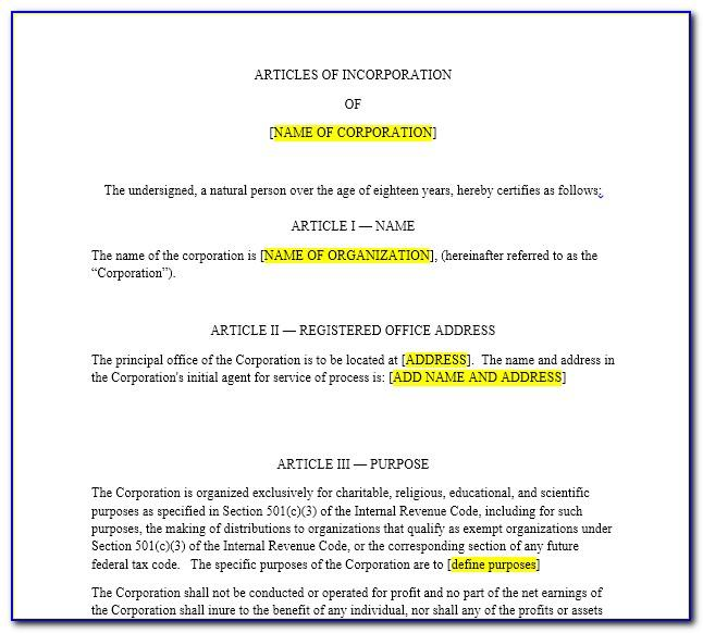 Article Of Incorporation Form For Nonprofit