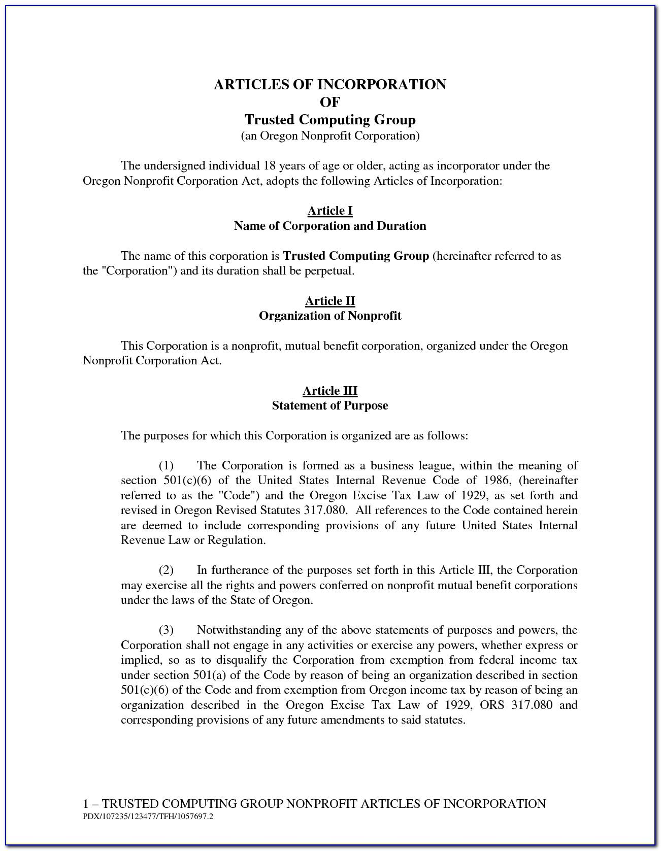 Articles Of Incorporation For Non Profit Organization Template