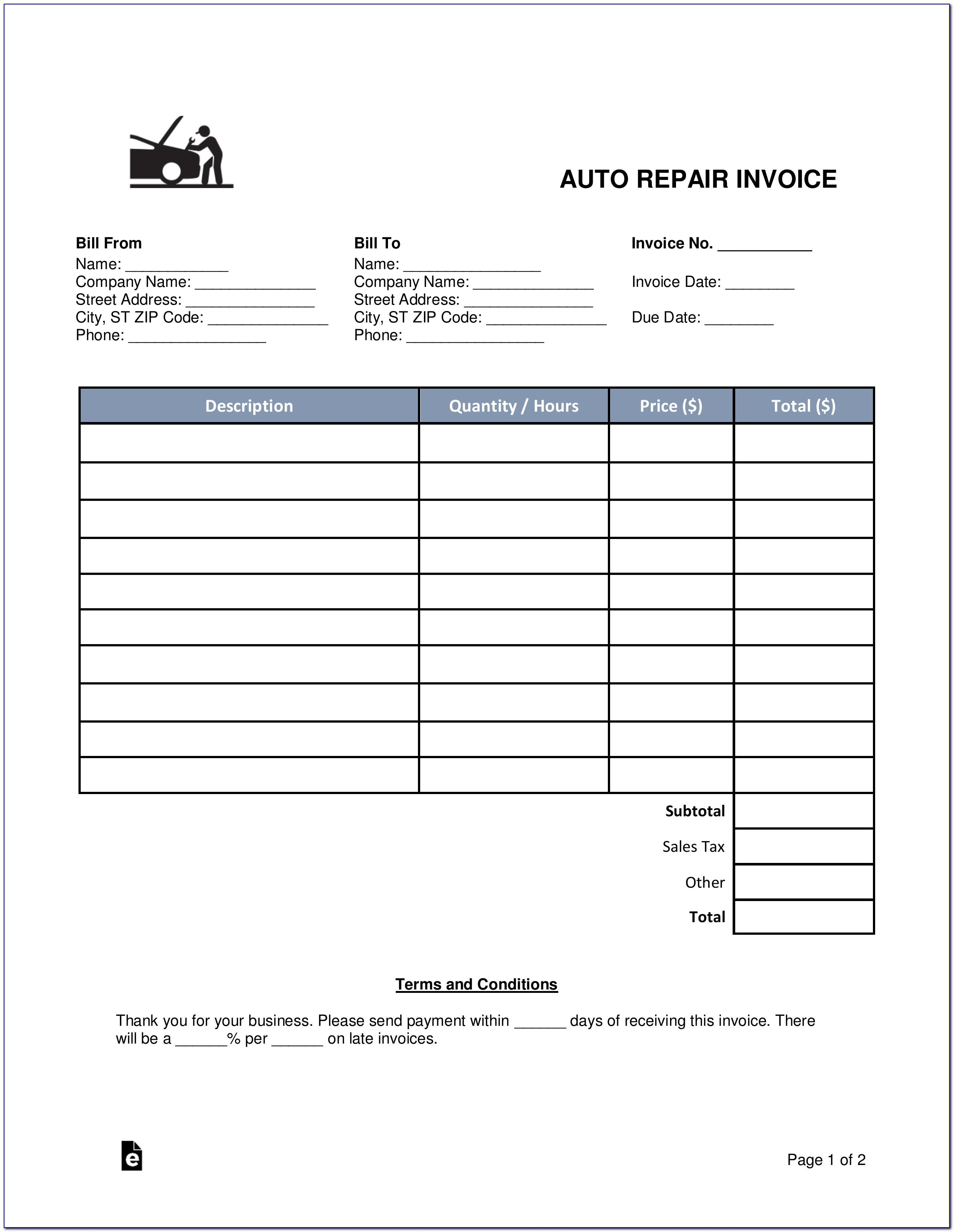 Auto Body Shop Invoice Example