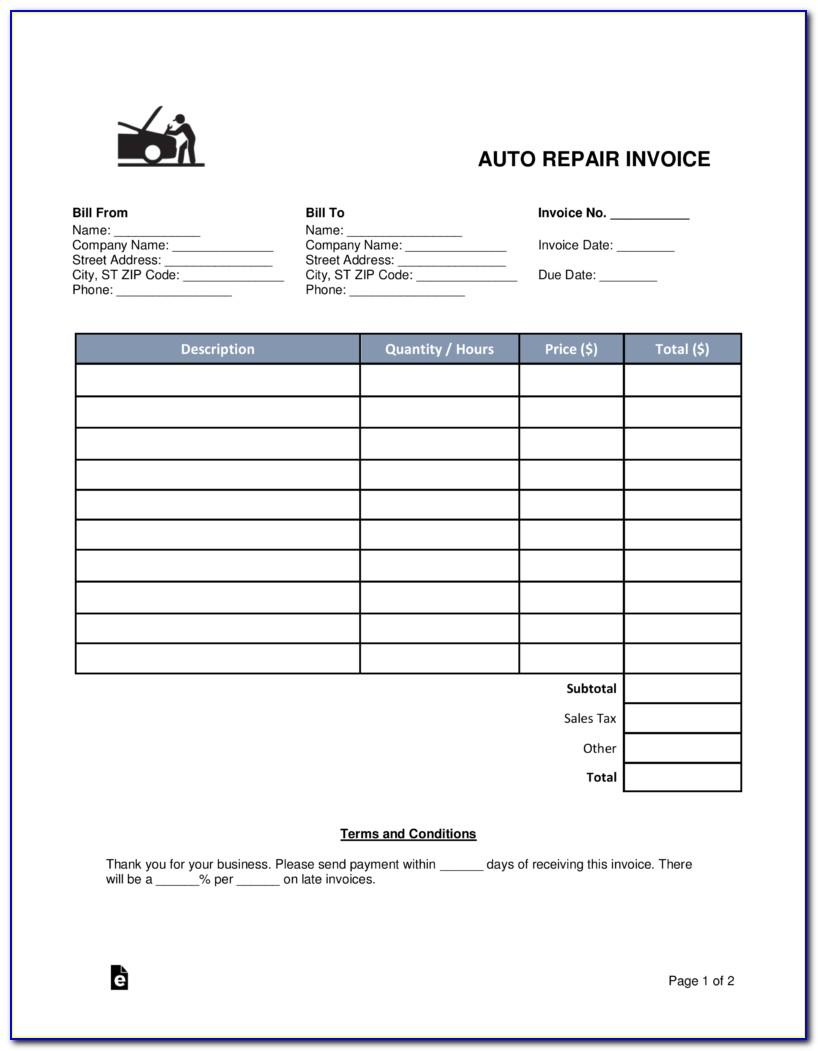 Auto Service Invoice Template