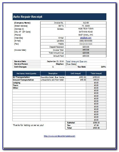 Automotive Service Receipt Template