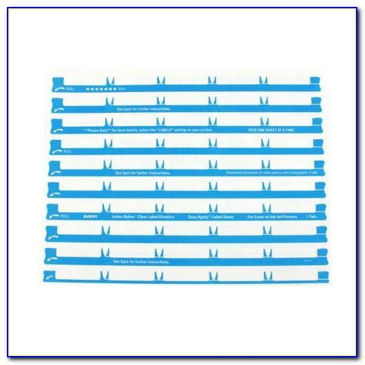 Avery 5 Tab Clear Label Dividers Template Ifs0250