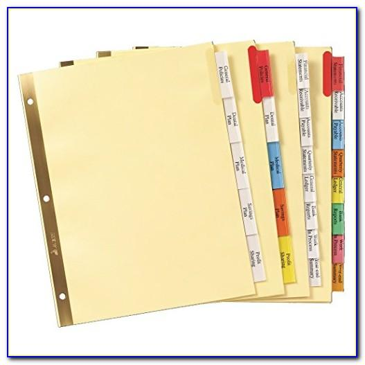 Avery 5 Tab Divider Inserts Template