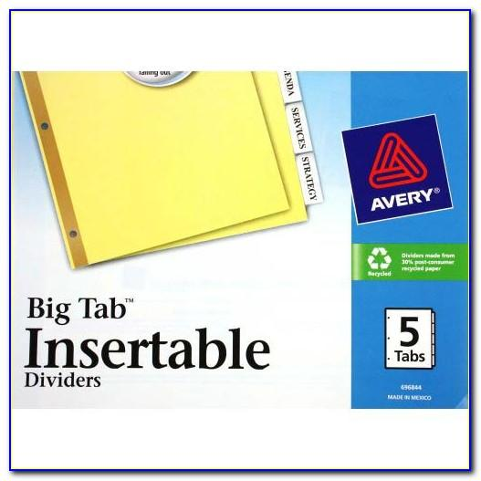 Avery Big Tab 5 Dividers Template