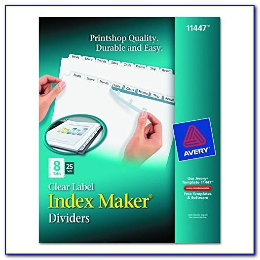 Avery Index Maker Easy Apply 8 Tab Template