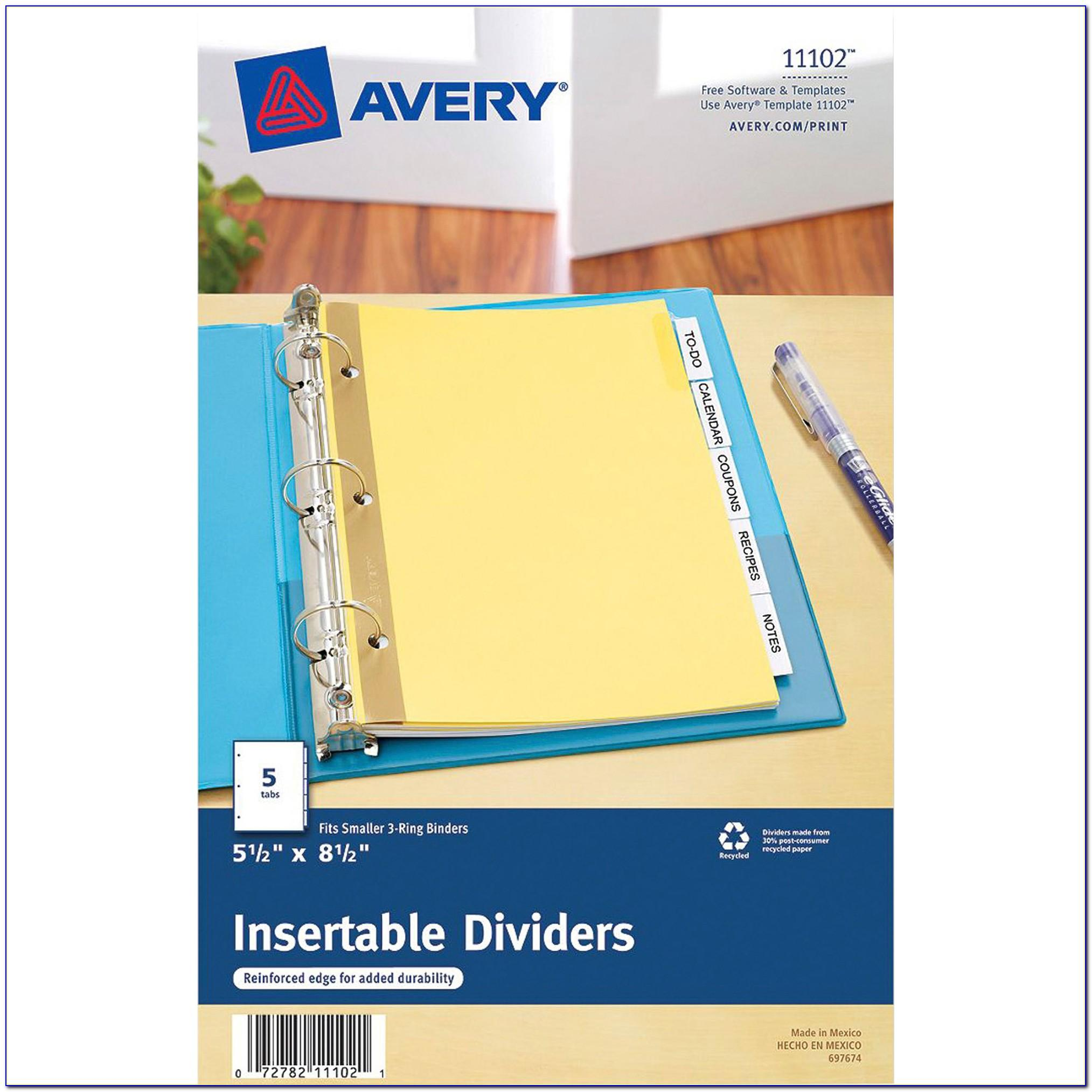 Avery Insertable Dividers 81000 Template