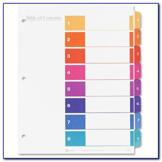 Avery Ready Index Dividers 8 Tab Template