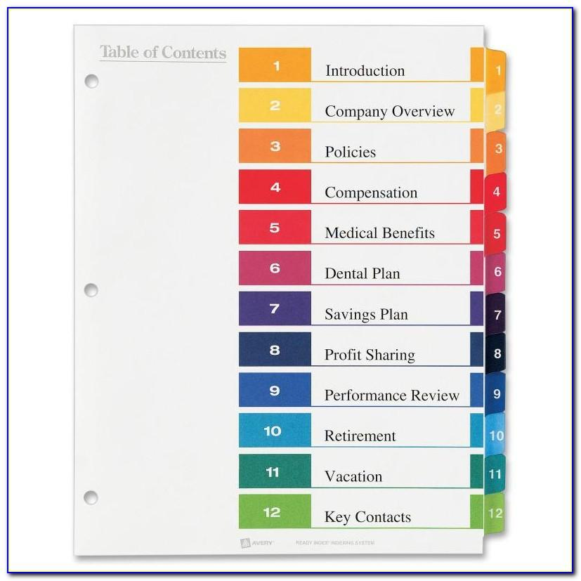 Avery Ready Index Table Of Contents Dividers 8 Tab Template