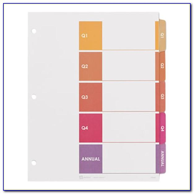 Avery Standard Divider Tab Inserts 5 Tabs Template