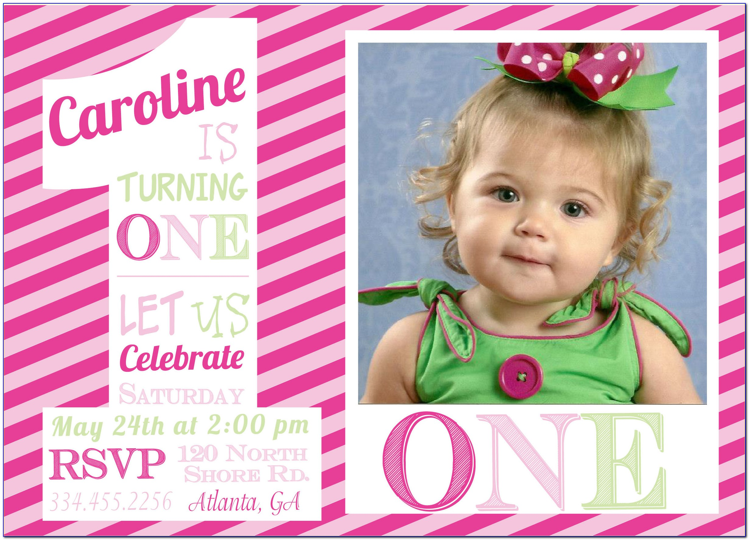 Baby 1st Birthday Invitation Card Template