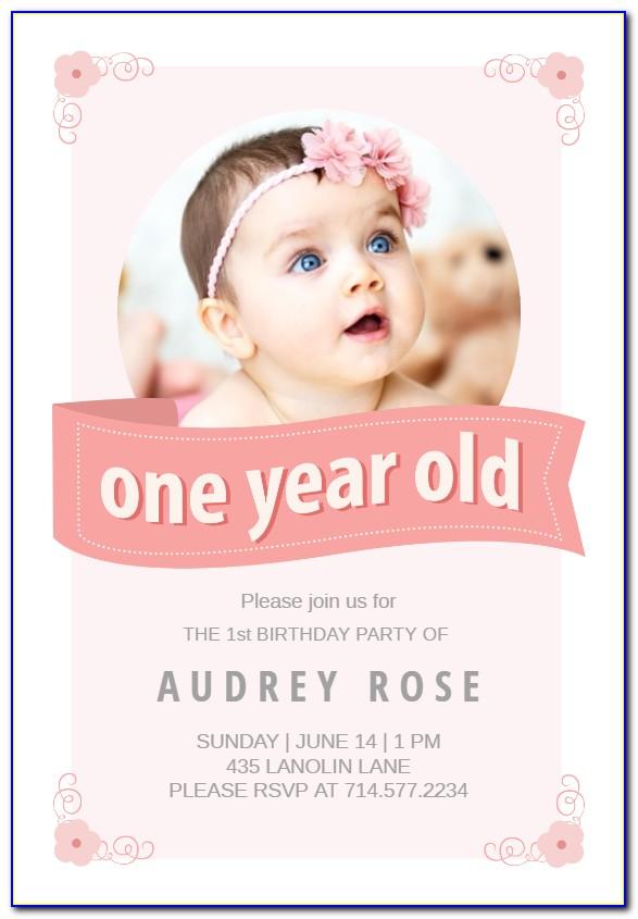 Baby Boy 1st Birthday Invitation Card Template