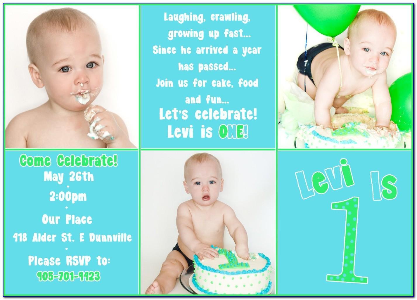 Baby Boy 1st Birthday Invitation Template