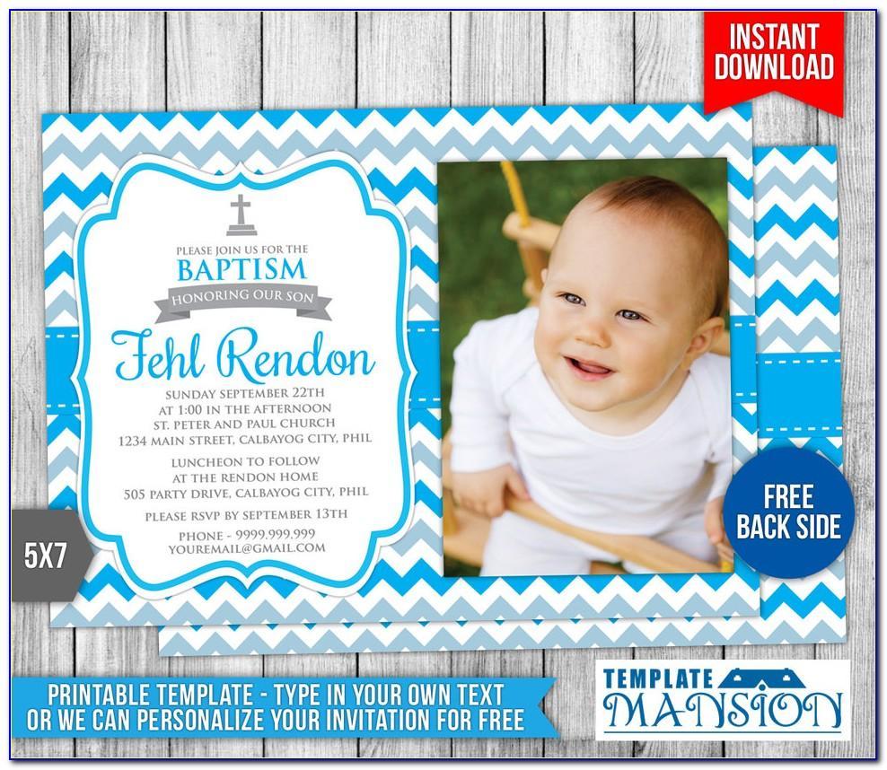 Baby Boy Christening Blank Invitation Template