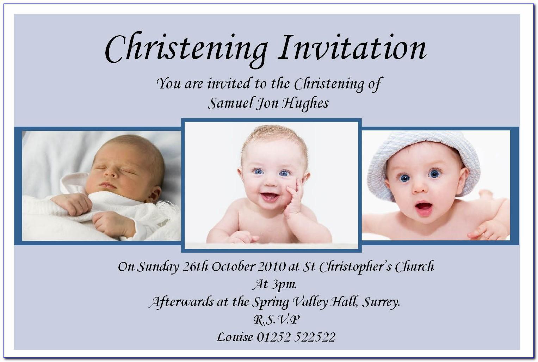 Baby Boy Christening Invitation Cards