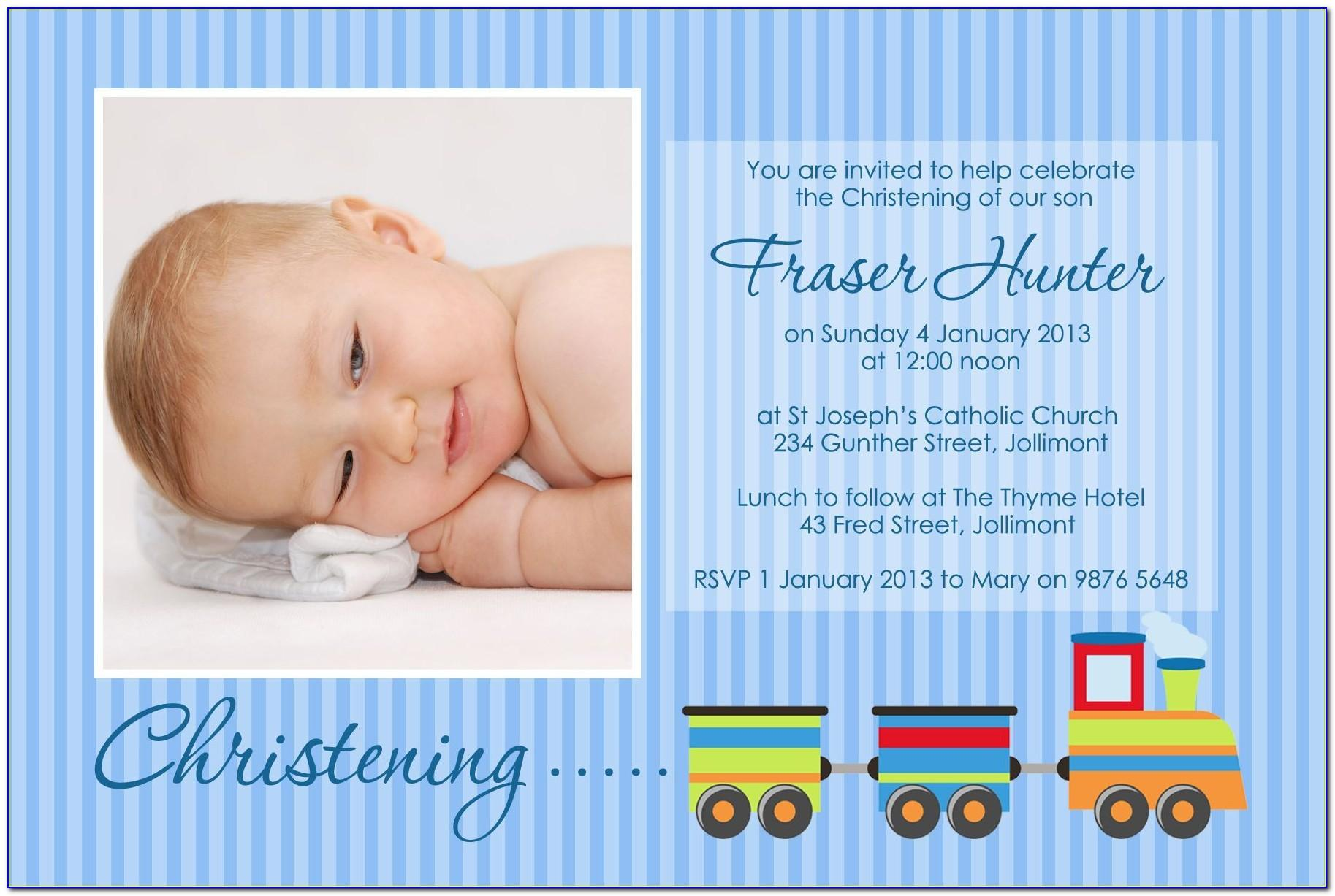 Baby Boy Christening Invitation Designs
