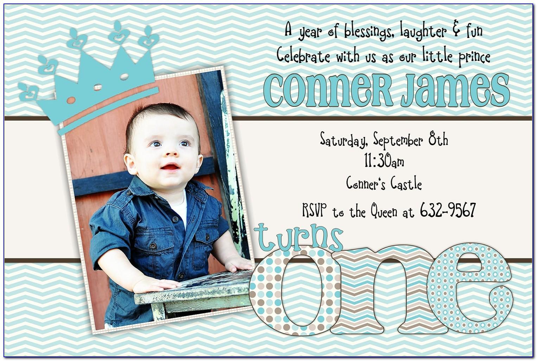 Baby Boy First Birthday Invitation Template