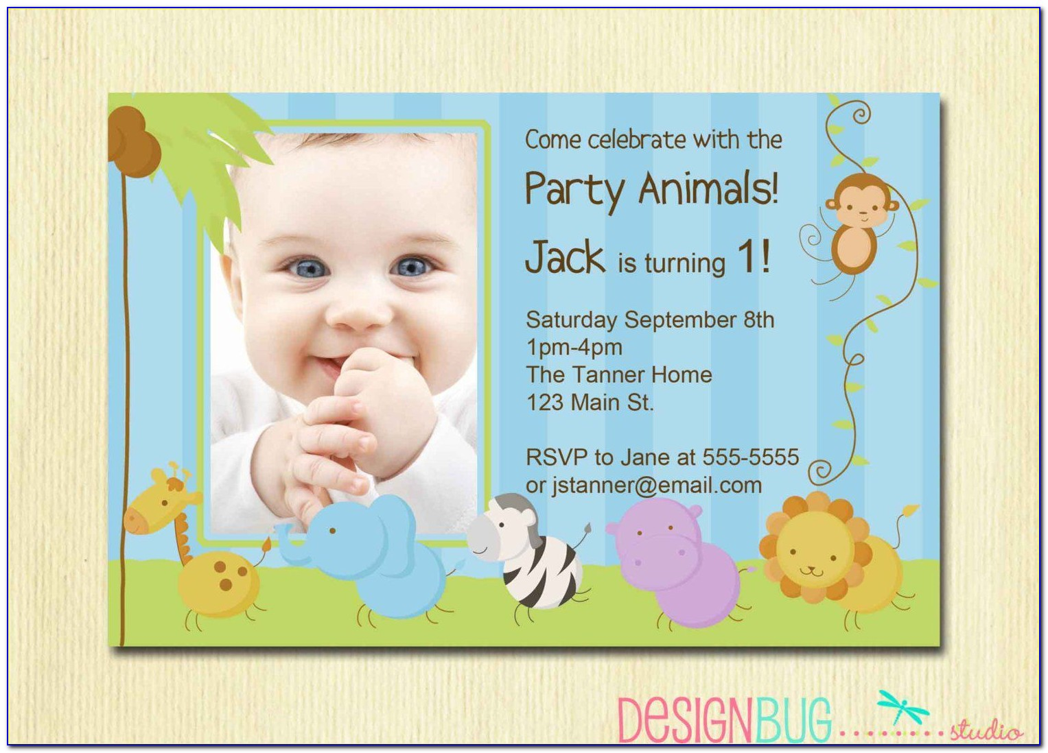 Baby First Birthday Invitation Card Template