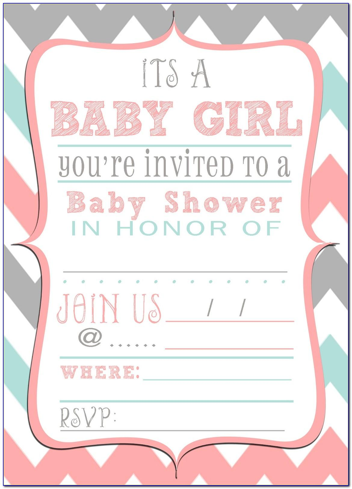 Baby Shower Template Invitation Card