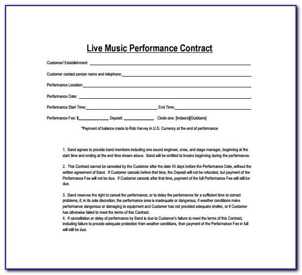 Band Contract Template Free