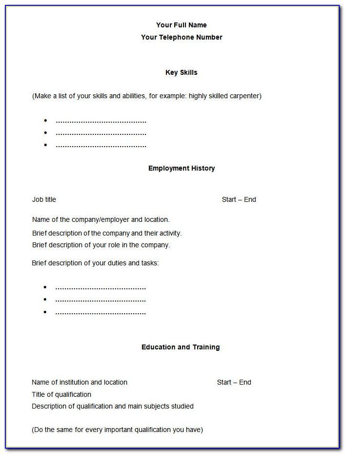 Basic Printable Resume Template