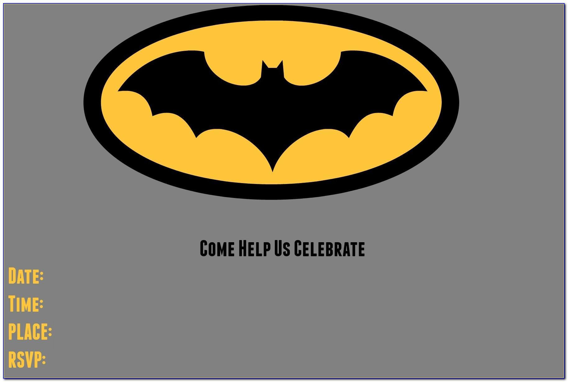 Batman Birthday Invitation Card Template