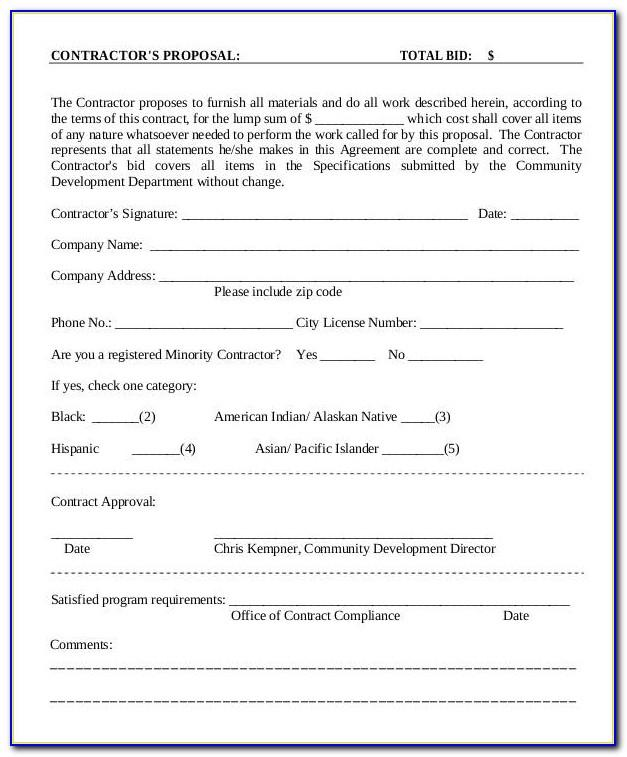 Bid Proposal Template Pdf
