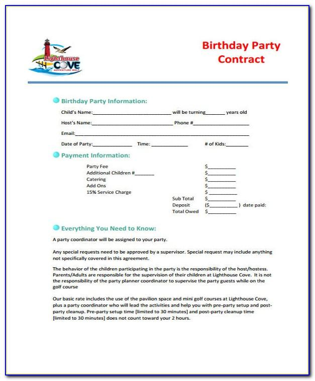 Birthday Party Photography Contract Template