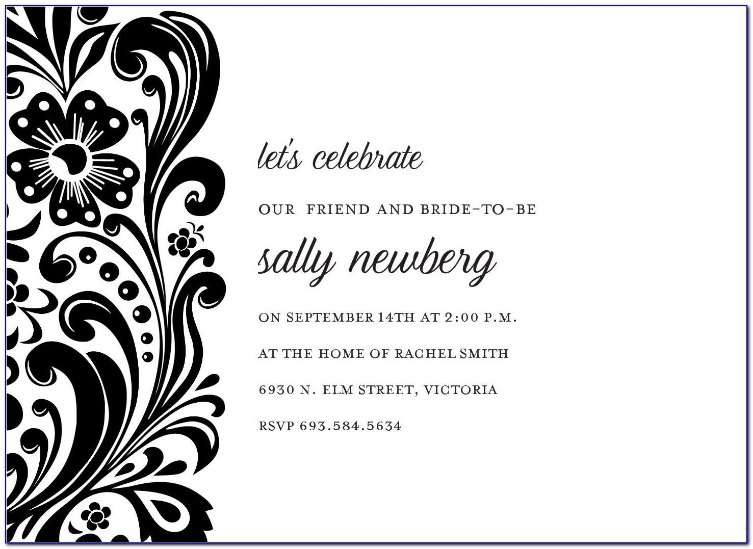 Black And White Invitation Templates Free Download