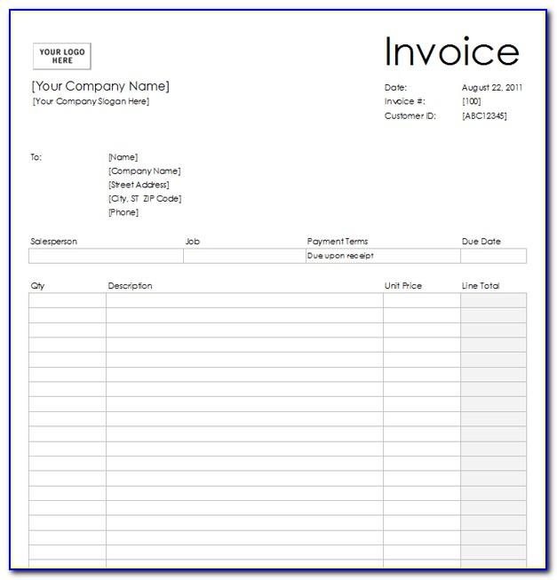 Blank Printable Invoice Template Free