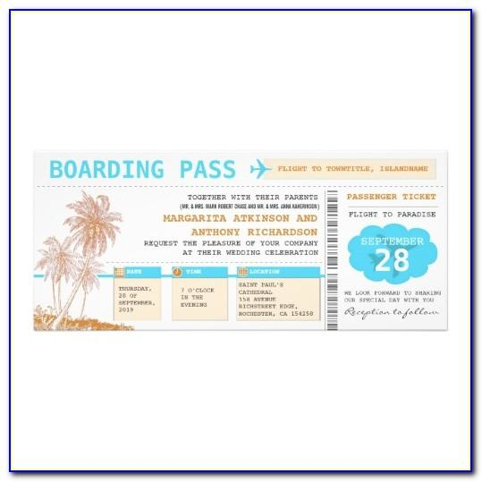 Boarding Pass Style Wedding Invitation Template