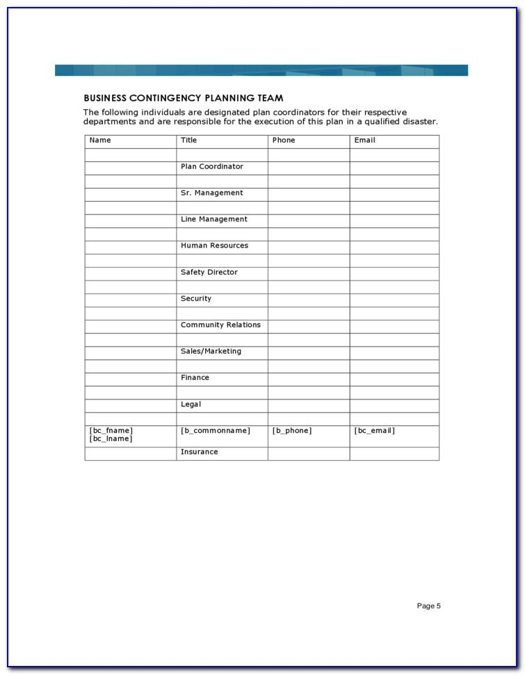 Business Continuity Plan Template Example