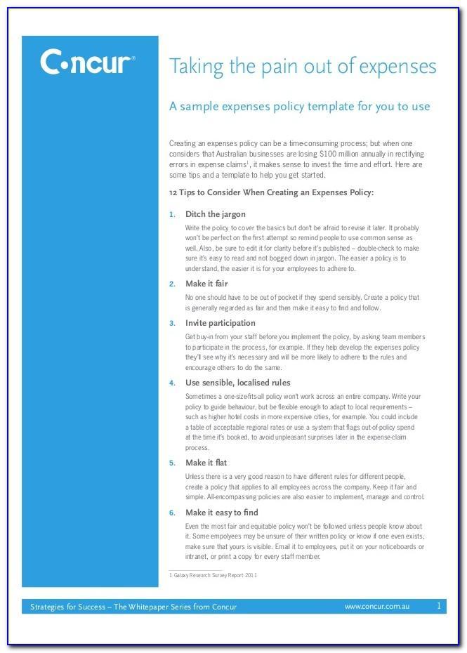 Business Expense Reimbursement Policy Template
