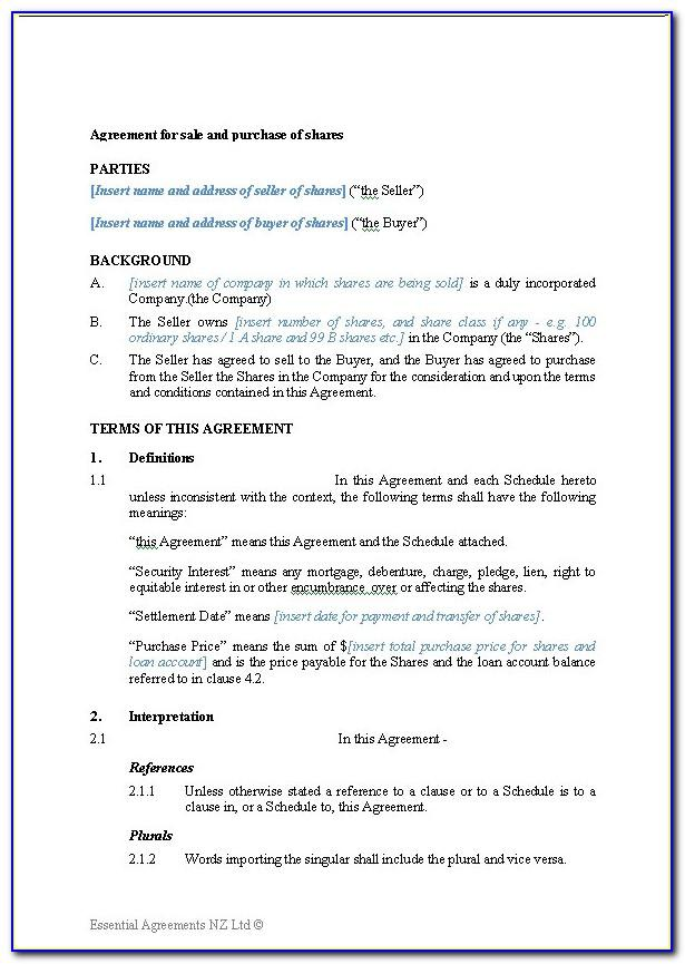 Business Sale Agreement Template Free Download Nz
