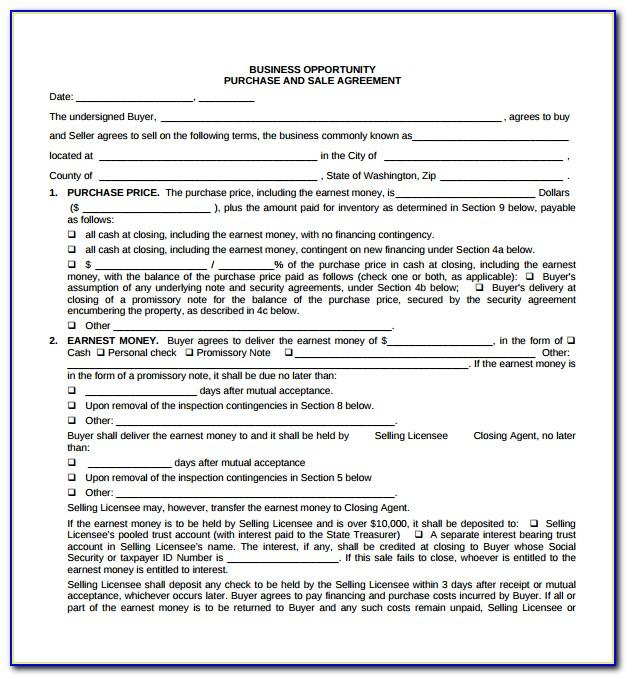 Business Sale Agreement Template Free Download Uk