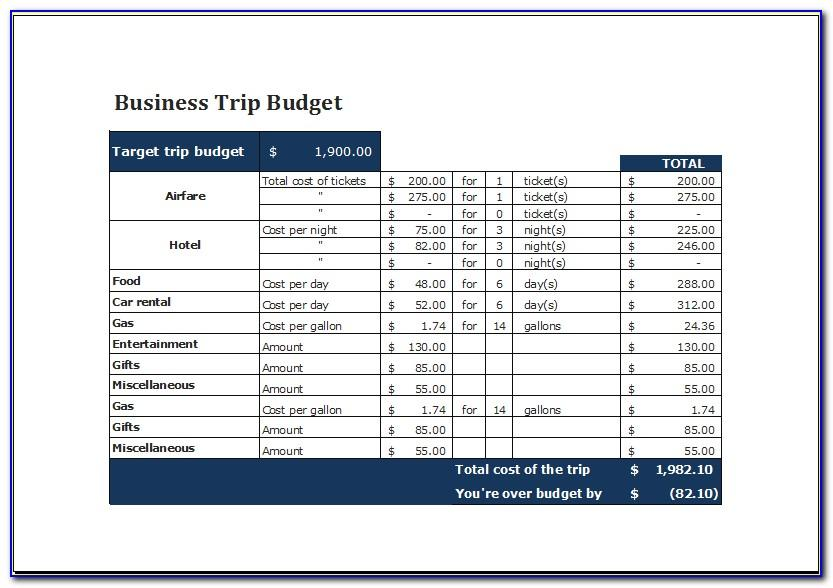 Business Travel Plan Example