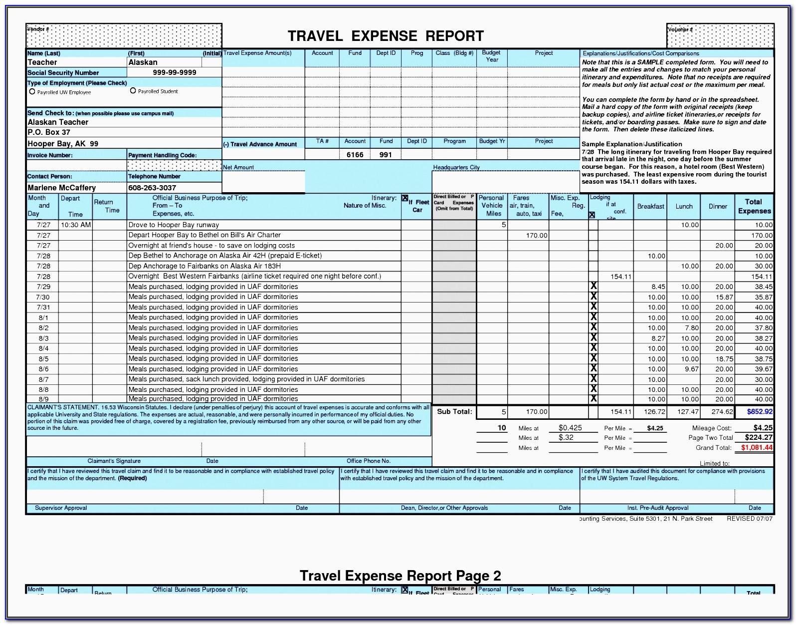 Business Travel Plan Template Excel