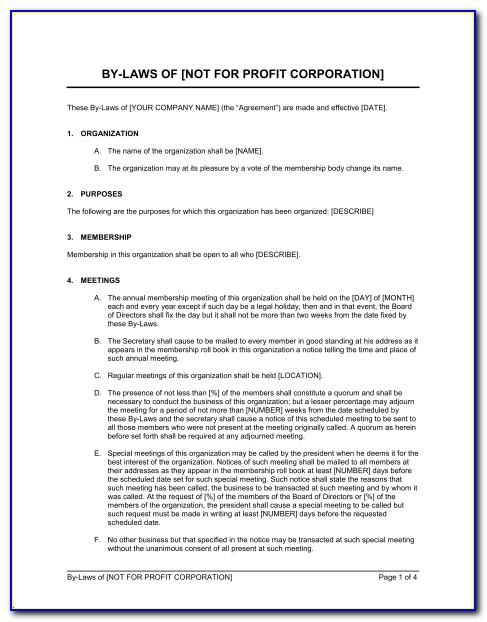 Bylaws For Nonprofit Template