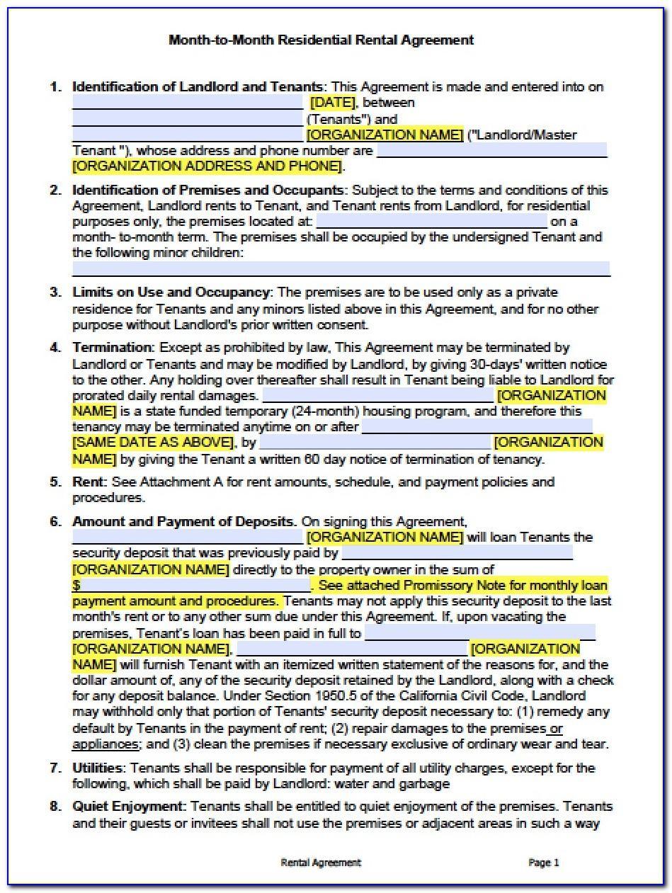 California Rental Agreement Contract