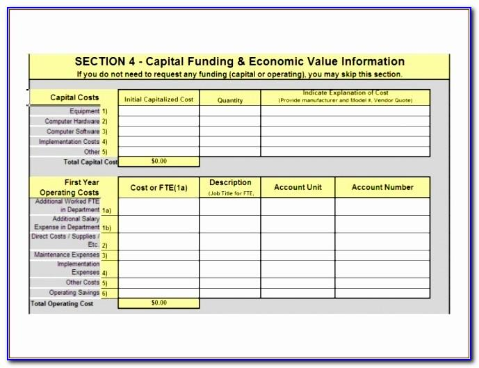 Capital Project Request Form Template Excel