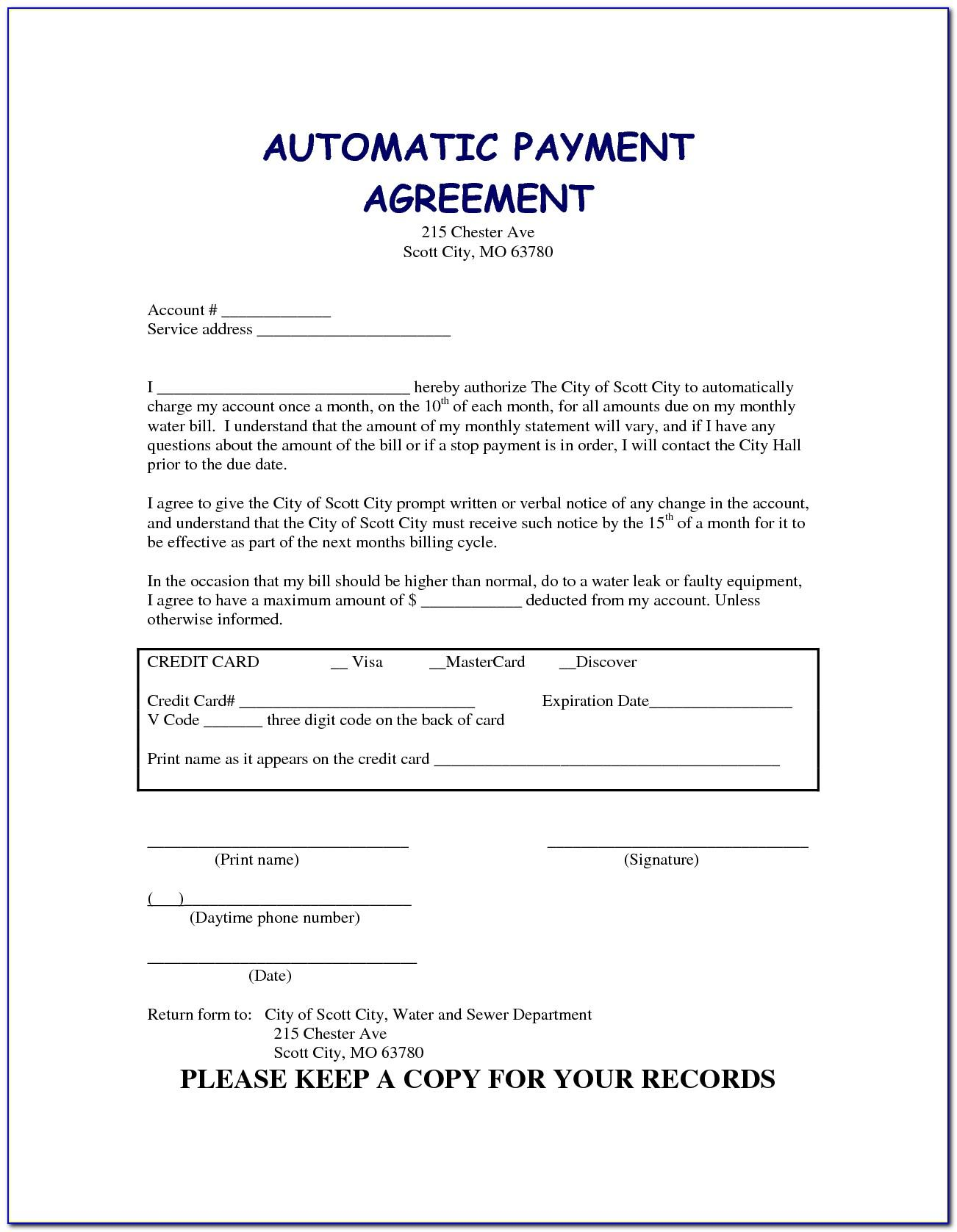 Car Payment Agreement Template Pdf