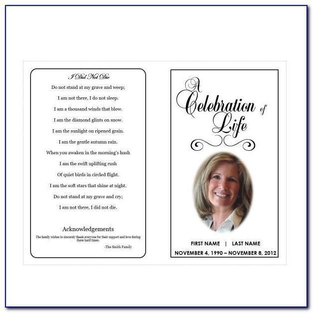 Celebration Of Life Cards Templates Free
