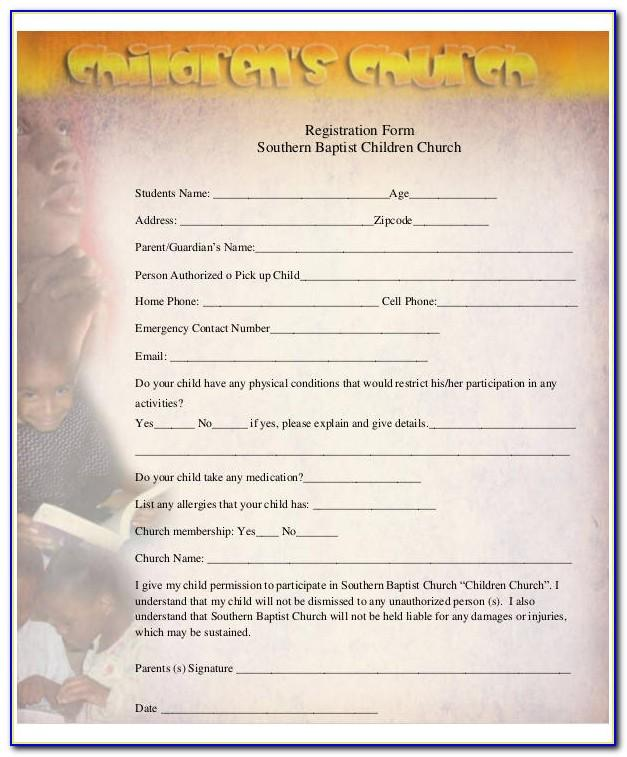 Children's Church Registration Form Template