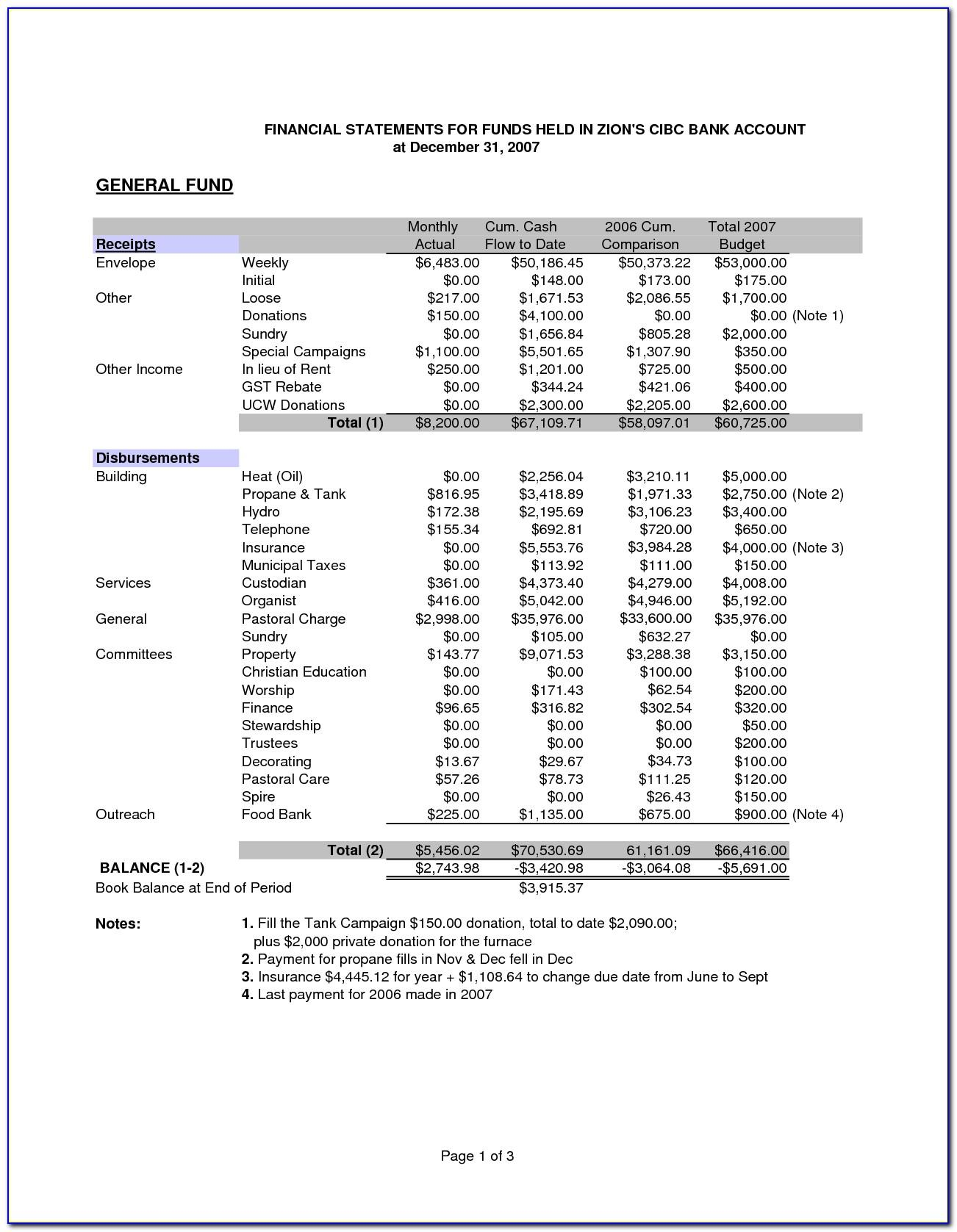 Church Financial Statement Template