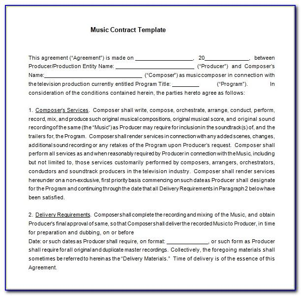 Church Musician Contract Template Free