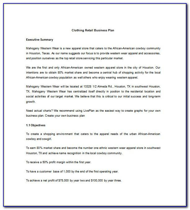 Clothing Business Plan Template Pdf