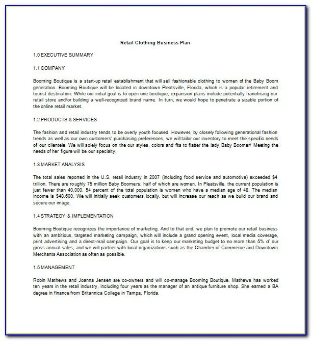 Clothing Business Plan Template Word