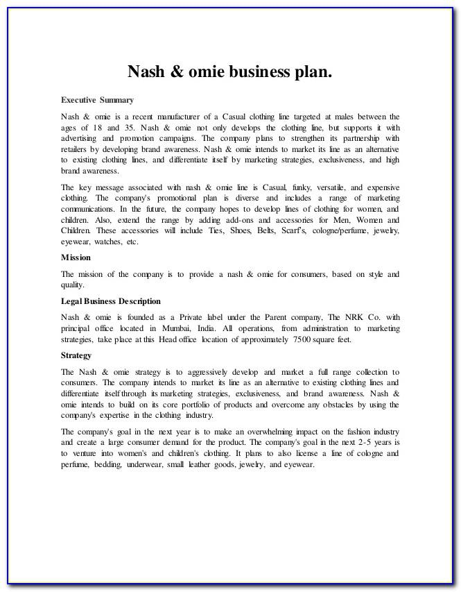 Clothing Company Business Plan Template