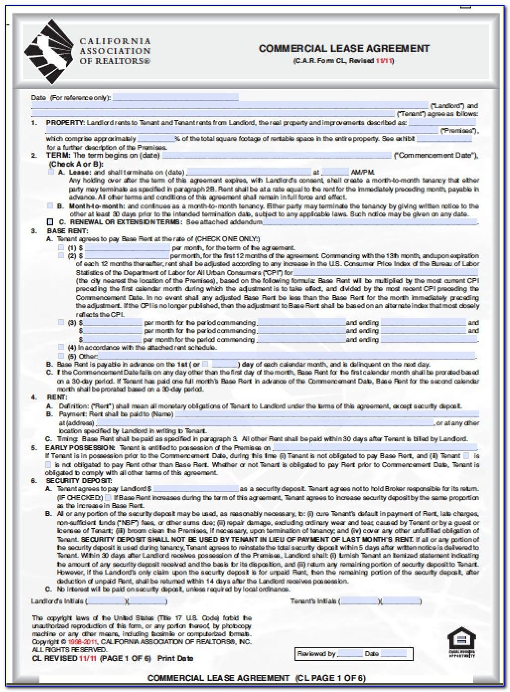 Commercial Lease Agreement Template California