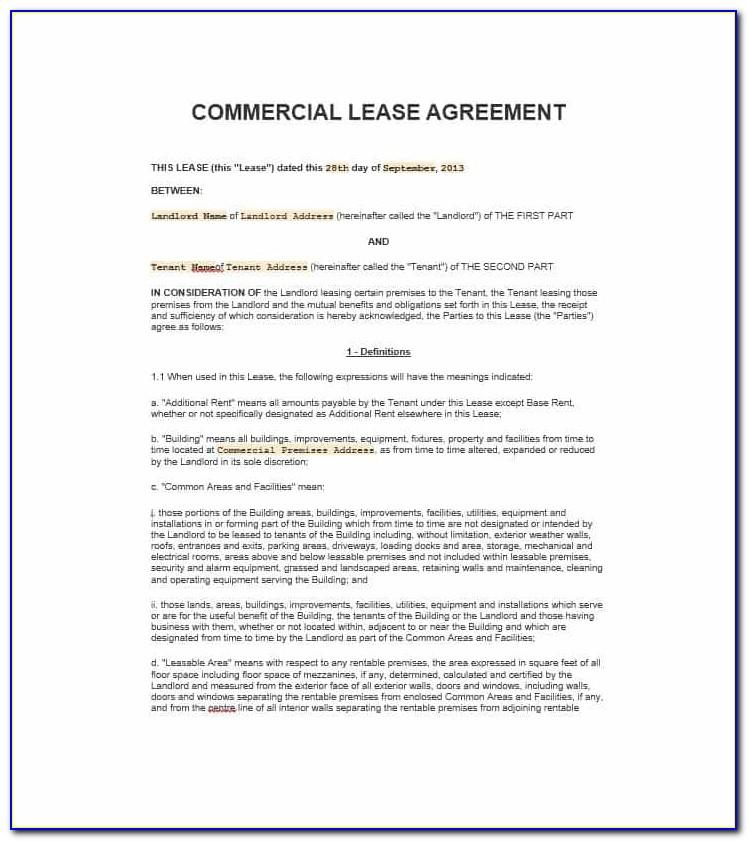 Commercial Lease Agreement Template Free Australia